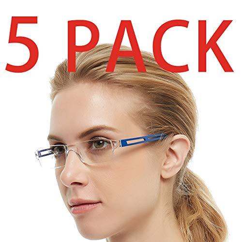 (Reading Glasses 5 Pairs Rimless Men Women Comfort Prescription Eyeglasses Fashion Reader (+100,+150,+200,+250,+300,+350,+400) (Purple+Blue+Transplate+Black+Red, 2.5))