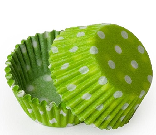 (CK Products 100 Count Baking Cups, Mini, Lime Green Polka Dot)