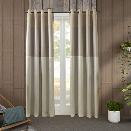 (Jarl home Three-Color Stitching Blackout Curtains - Artificial Silk Blackout Window Drape Lined Double Curtains for Bedroom Grommet Top Curtain Panels for Living Room - 2 Panels (Beige, 5296))