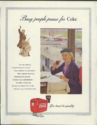 Busy people pause for Coca-Cola ad 1953 fountain cooler airport woman