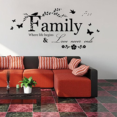 Weiliru Wall Stickers & Murals Home Décor Home Décor Accents for Living Room Letter Pattern Wall Decals