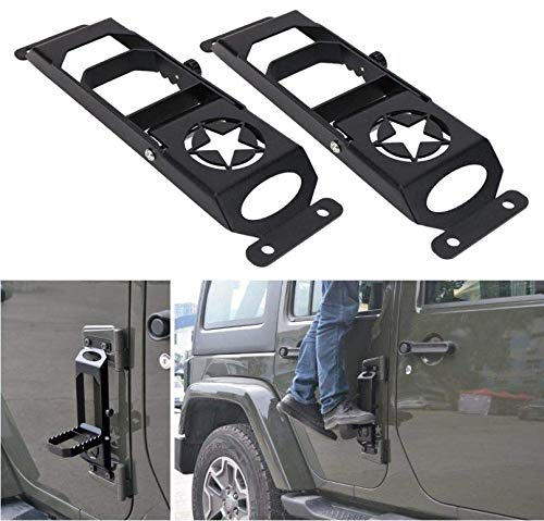 Easy Access to Car Rooftop for 2007-2018 Jeep Wrangler JK JKU JL JLU Rubicon Sahara X Sport RT-TCZ Door Hinge Step Foot Peg Folding Foot Pedal 2 Pack, Plain Black