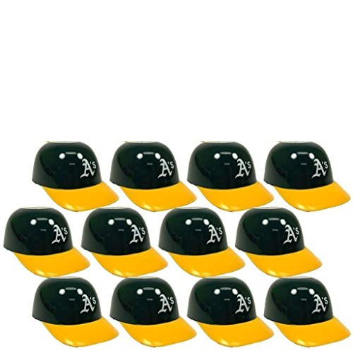 MLB Mini Batting Helmet Ice Cream Sundae/ Snack Bowls, A's - 12 Pack