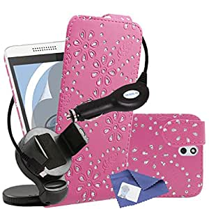 iTALKonline HTC Desire 610 Pink Bling Flower Diamond Leaf PU Leather Executive Multi-Function Vertical Flip Wallet Case Cover Organiser with 3 Layer LCD Screen Protector, 360 Degrees Rotating Case Compatible In Car Windscreen Suction Mount Holder and 1000 mAh Coiled In Car Charger LED Indicator and Overload Protection