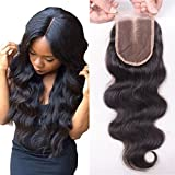 Human Hair 4X4 Lace Top Closure Sunwell Brazilian Virgin Hair Bleached Knots Body Wave Middle Part Lace Closure with Baby Hair Natural Color 16inch