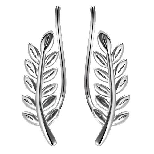 (YFN 925 Sterling Silver Leaf Crawler Ear Pin Cuff Wrap Climber Earrings)