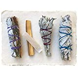 Sage Smudge Stick Kit - White Sage, Palo Santo, Mini Sage, Sage and Lavender Smudging Sticks PLUS a Selenite Crystal & How to Guide for Cleansing your Home - Hand tied in California (Sage w/ Lavender)