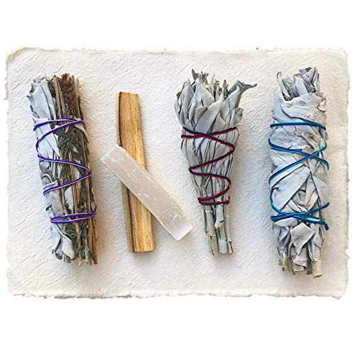 Sage Smudge Stick Kit - White Sage, Palo Santo, Mini Sage, Sage and Lavender Smudging Sticks PLUS a Selenite Crystal & How to Guide for Cleansing your Home - Hand tied in California (Sage w/ Lavender) by Maha Living