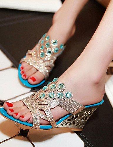 ShangYi Womens Shoes Heel Heels / Peep Toe / Slippers Sandals / Heels / Clogs & Mules Outdoor / Dress / Casual Blue / Gold golden
