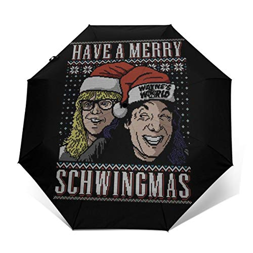 Merry Schwingmas Christmas Waynes World Windproof Compact Auto Open And Close Folding Umbrella,Automatic Foldable Travel Parasol Umbrella
