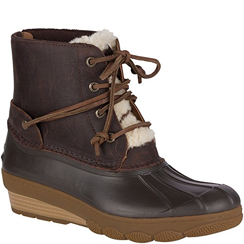 Fur Wedges (Sperry Top-Sider Women's Saltwater Wedge Tide Fur Rain Boot, Brown, 7 Medium US)