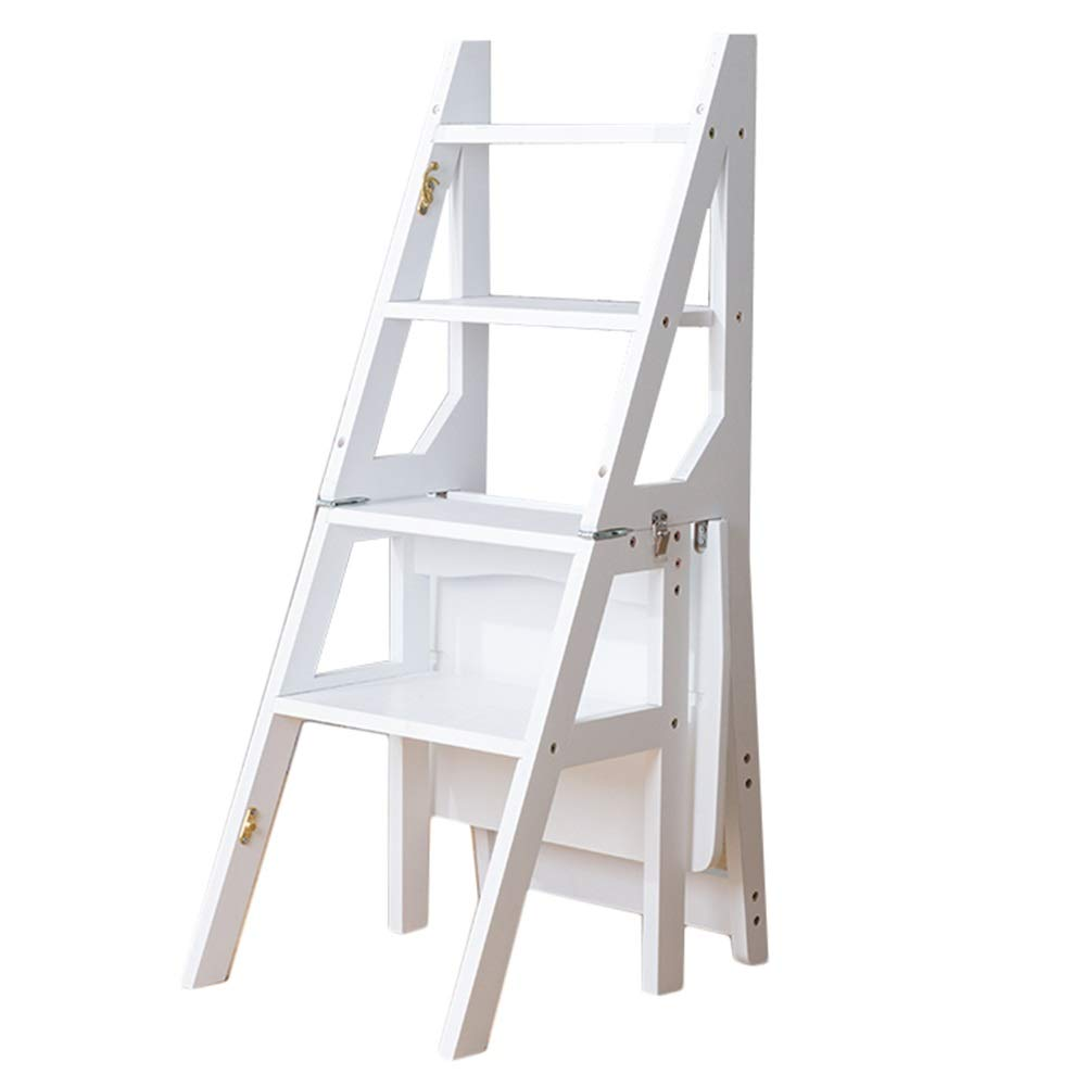 White step stool Portable Ladder Stool 4 Easy to Store Foldable Design Ideal for Home Kitchen Garage (color   Wood color)
