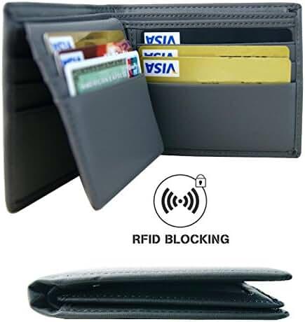 Aonal RFID Blocking Leather Bifold Wallet for Men