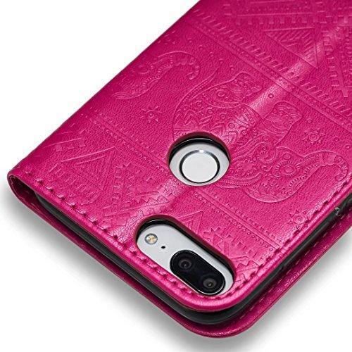 COWX Huawei Honor 9 Lite Hülle Flip Brieftasche PU Leder Schutzhülle für Huawei Honor 9 Lite Tasche Elefant (Rose Rot)