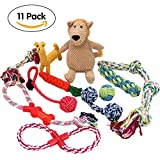 PUPTECK Dog Rope Toys 11 Pack Gift Set – Puppy Teething Plush Squeak Toys for Pet Chew/Training / Tug of War