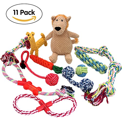 PUPTECK Dog Rope Toys 11 Pack Gift Set - Puppy Teething Plush Squeak Toys for Pet Chew/Training / Tug of War