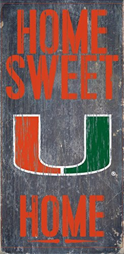 Miami Hurricanes Wood Sign - Home Sweet Home 6''x12'' (Sign Miami Hurricanes)