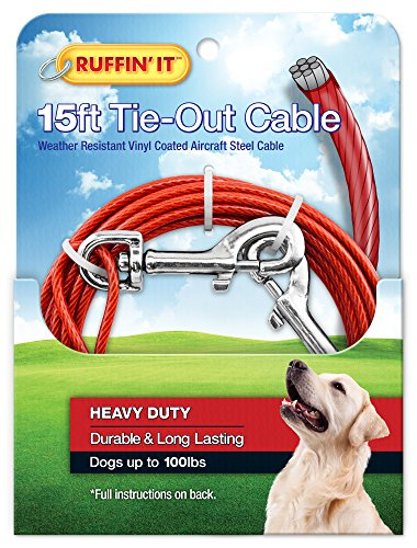 RUFFIN' IT 1700-Pound Strength Heavy Duty Cable Tie Out, 15-Feet