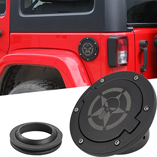 Gas Cap Cover Fuel Tank Cap Cover for 2007-2018 Jeep Wrangler JK JKU Sport Rubicon Sahara Unlimited (A2)