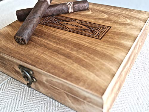 Swanky Badger Personalized Cigar Box - Wooden Cigar Holder Groomsmen Gift - Includes Custom Laser Engraving - 9 x 8.5 x 2 Inches (Vintage)