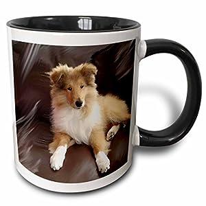 3dRose 4546_4 Rough Collie Puppy - Two Tone Black Mug, 11 oz, Multicolored 22