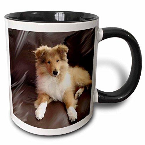 (3dRose 4546_4 Rough Collie Puppy - Two Tone Black Mug, 11 oz, Multicolored)