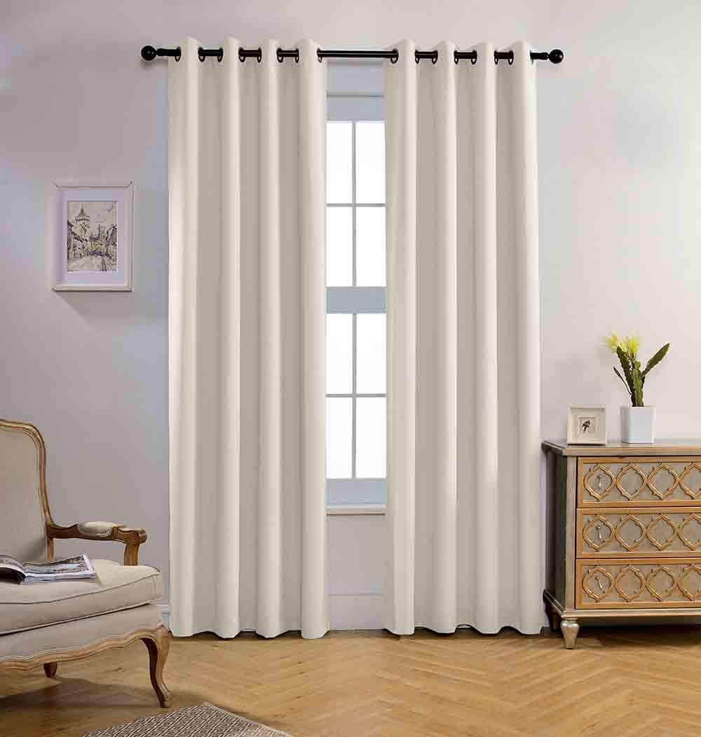 Miuco Blackout Curtains Room Darkening Curtains Textured Grommet Panels for Living Room 2 Panels 52x84 Inch Long Beige