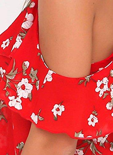 de floral volantes de mujer de para estampado Achicgirl hombro Blusa con 5ZqIAw0