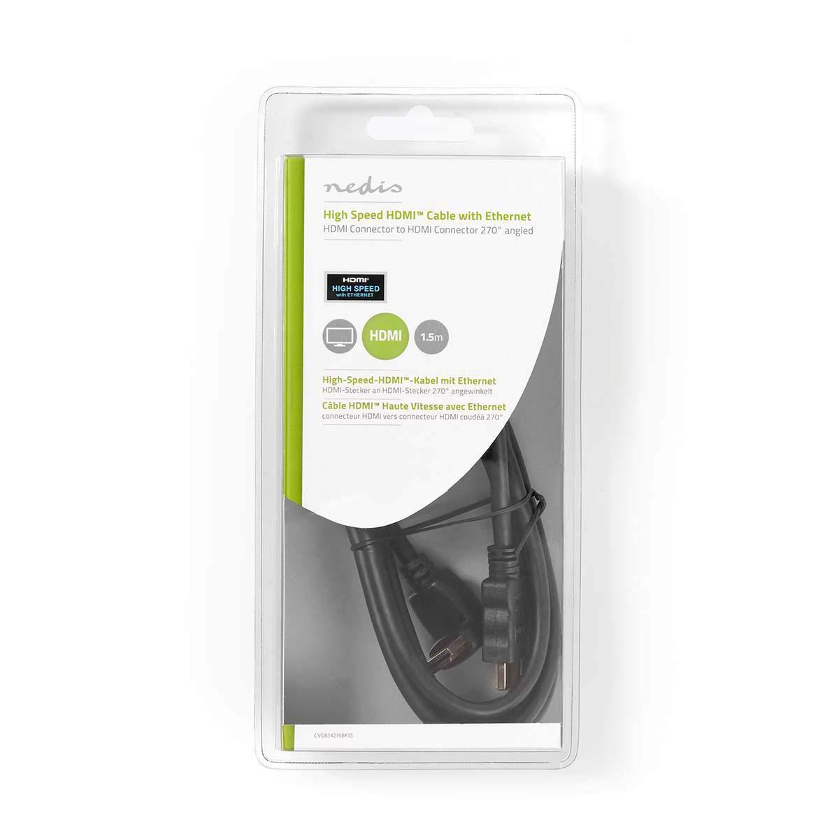Connecteur HDMI Noir Nedis CVGB34210BK15 C/âble HDMI/™ Haute Vitesse avec Ethernet 1,5 m Connecteur HDMI Coud/é /à 270/°