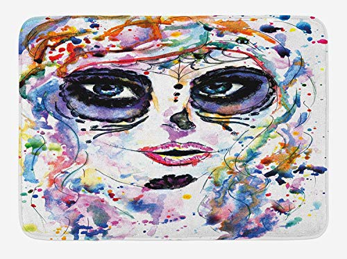 Weeosazg Sugar Skull Bath Mat, Halloween Girl with Sugar Skull Makeup Watercolor Painting Style Creepy Look, Plush Bathroom Decor Mat with Non Slip Backing, 31.5 X 19.7 Inches, -