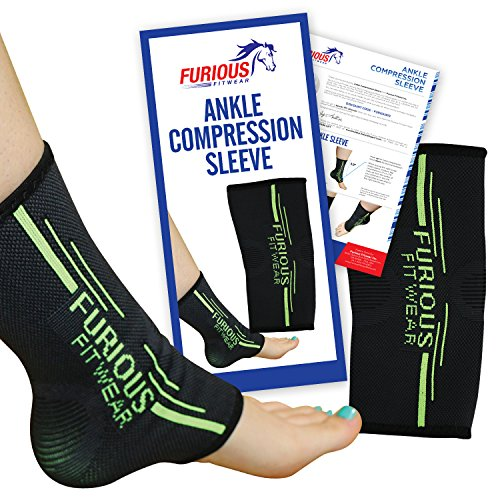 Furious Fitwear Ankle Compression Sleeve for Daily Support - Single (1) Only