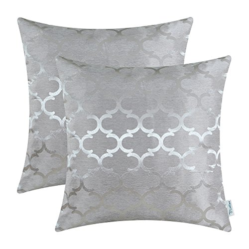 CaliTime Pack of 2 Cushion Covers Throw Pillow Cases Shells for Home Sofa Couch Modern Shining & Dull Contrast Quatrefoil Accent Geometric 16 X 16 Inches Silver Gray