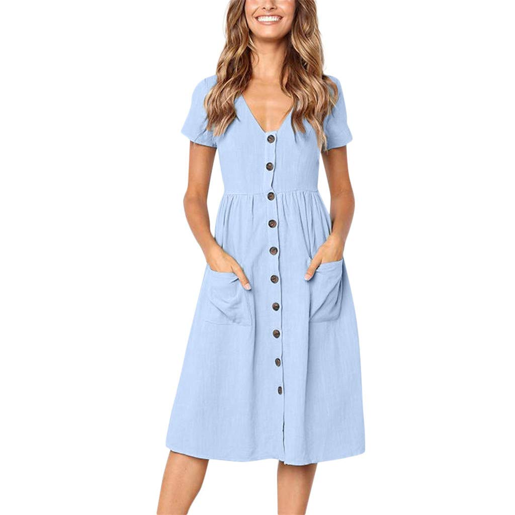 Yaseking Summer V-Neck Short Sleeve Women Casual Beach Dresses Solid Cotton A-Line Button Knee Length Dress with Pocket (XL, Light Blue)
