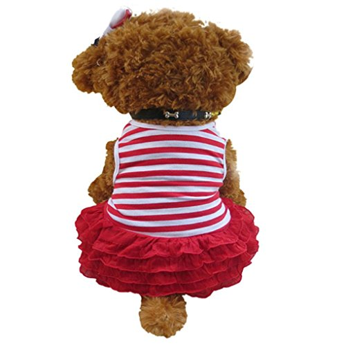 Dog Apparel,Haoricu Cute Dog Cat Pet Clothes Summer Costume Puppy Dog Stripe T-shirt Skirt Puppy Princess Dress (XS, (Costumes For Puppies)
