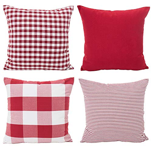 Ownest 4 Pack Christmas Pillow Covers Cotton Canvas Throw Pillow Cases for Sofa Cushion Home Holiday Decoration 18x18 Inch