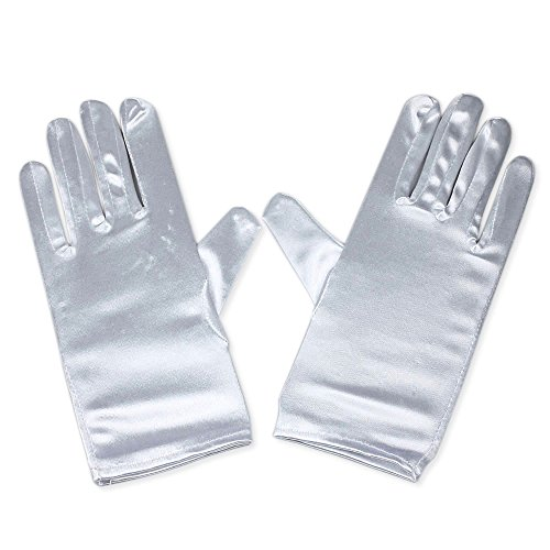 Women Wrist Length Adult Size Stretchy Satin Gloves (White)