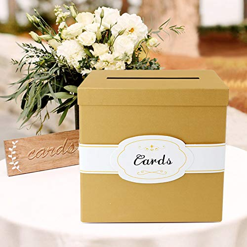 (Wmbetter Gold Gift Card Box with White/Gold-Foil Paper Ribbon & Cards Label, Rose Texture Wedding Card Box for Birthday, Graduations, Baby Showers - Large Size 10.23 x 10.23)