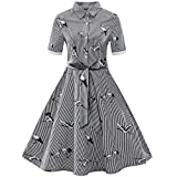 Answerl⍣ Women's Vintage Short Sleeve Big Swing A-Line Dress Crane Button Round Neck Dress with Blet Black