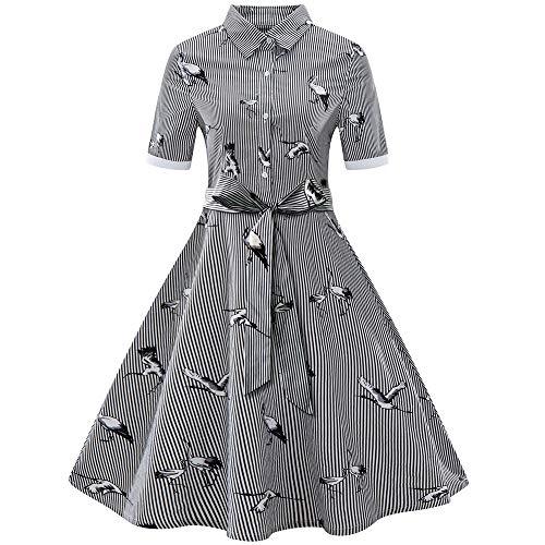 XOWRTE Women's Plus Size Vintage Dress Printed Stripe Belt Bandage Swing Shirt Dress ()