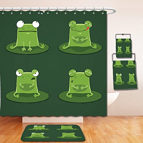 Nalahome Bath Suit: Showercurtain Bathrug Bathtowel Handtowel Funny Decor Funny Muzzy Frog on Lily Pad in Pond Hunting Tasty Fly Expressions Cartoon Animal Theme Bottle - Chicago In Outlet Fashion