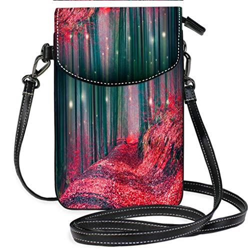 High-end Fashion Microfiber Crossbody Bag Magic Fairytale Forest with Fireflies Lights and Mysterious Road Multifunction Travel Crossbody Purse Wallet -