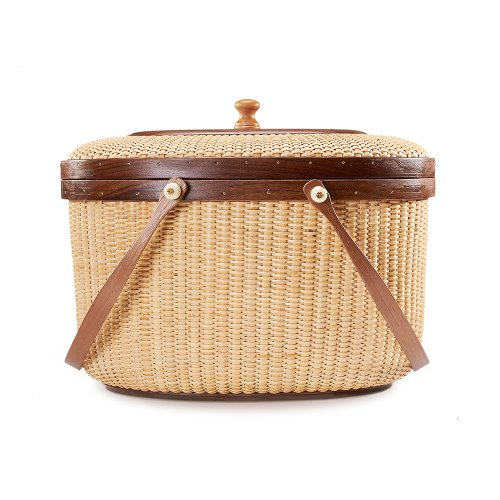 Nantucket basket Picnic Basket woven basket basket storage storage baskets storage basket shelves organizer basket woven storage basket cane basket for Storage Handmade Style Sewing kit Walnut