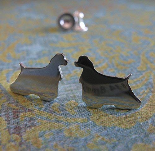 - Cocker Spaniel Dog Stud Earrings Polished Sterling Silver Handmade in USA