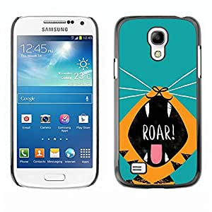 Be Good Phone Accessory // Dura Cáscara cubierta Protectora Caso Carcasa Funda de Protección para Samsung Galaxy S4 Mini i9190 MINI VERSION! // Roar Tiger Puppy Kitten Teal Cartoon D