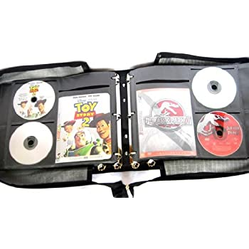 Artisan 240 Disc Black Faux Leather DVD Album with 120 Liner Notes and Title Cover Page Capacity Using Metal Ring Binder