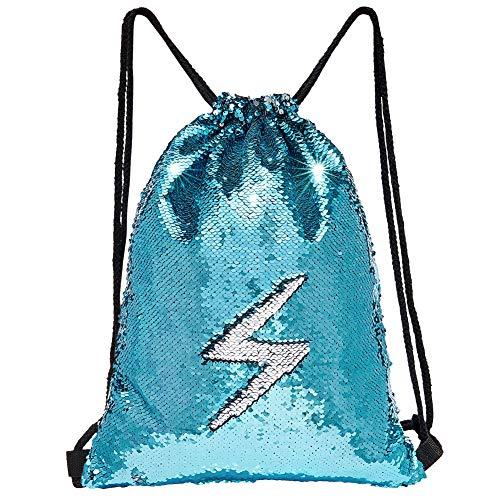 (MHJY Sequin Bag Unciorn Drawstring Bag Mermaid Backpack Sparkly Gym Dance Bag Reversible Flip Sequin Bling Backpack for Hiking Beach Travel Bags)