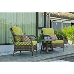 Garden and Outdoor N&V Patio Outdoor Furniture Bistro Sets Mouldproof Wicker Chairs with Glass Coffee Table Pillows & Waterproof Cushions… patio furniture sets