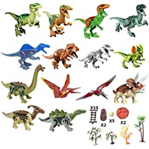 Yizeda Dinos Toy,(14+23) Dinosaur Building Blocks Figures Toys,Jurassic Predator Herbivore and Dinosaur Scene Configuration Set