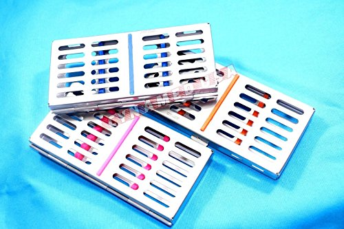 GERMAN STAINLESS 3 Dental Sterilization Cassette Rack Tray Box For 7 Surgical Instruments ( SET OF 3 COLORED ) by Synamed
