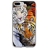 Tfugiu iPhone 8 Plus Case, 7 Plus Case White Tiger and Tiger Hard Anti-Scratch &Fingerprint Non Slip PC Phone Case, 5.5 Inch Black
